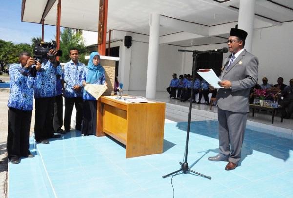 Bupati Raja Ampat Abdul Faris Umlati sampaikan pidato peluncuran  modul PLH_foto Nugroho Arif Prabowo_TNC